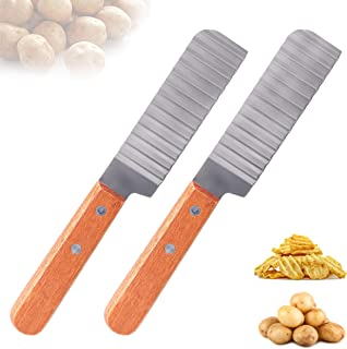 LTHERMELK 2 Couteau à Pommes De Terre Couper Les Frites avec Antidérapante Poignée en Bois Acier Inoxydable Couteau Légume...