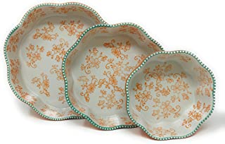 "Temp-tations Set of 3 Nesting Bakers, Layer Cake Pan, 10"", 8"", and 6"", Flower Shape Dish (Floral Lace Tangerine)"