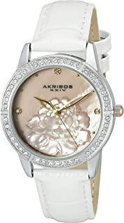 Akribos Xxiv Women's Mother Of Pearl Dial Leather Band Watch - Ak805Ss, Analog Display