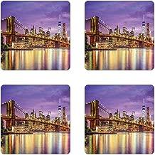 Ambesonne New York Coaster Set of 4, NYC Exquisite Skyline Manhattan Broadway Old Neighborhood Tourist Country Print, Square Hardboard Gloss Coasters for Drinks, Purple Yellow