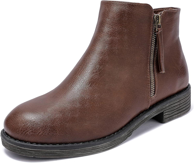 Luoika Women's Wide Luxury goods Width Ankle Heel Low Boots Extra Over item handling ☆ Side