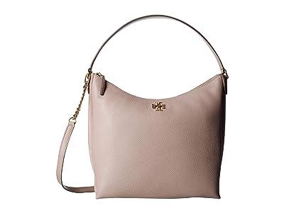 Tory Burch Kira Mixed-Materials Hobo (Gray Heron) Handbags
