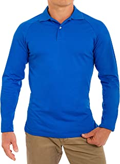 CC Perfect Slim Fit Long Sleeve Polo Shirts for Men | Soft Fitted Breathable Mens Long Sleeve Polo Shirts
