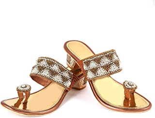 Sagar Latest Golden Rexin Sandals Beautiful Hand Work for Girls and Women Specially Made for Marriage