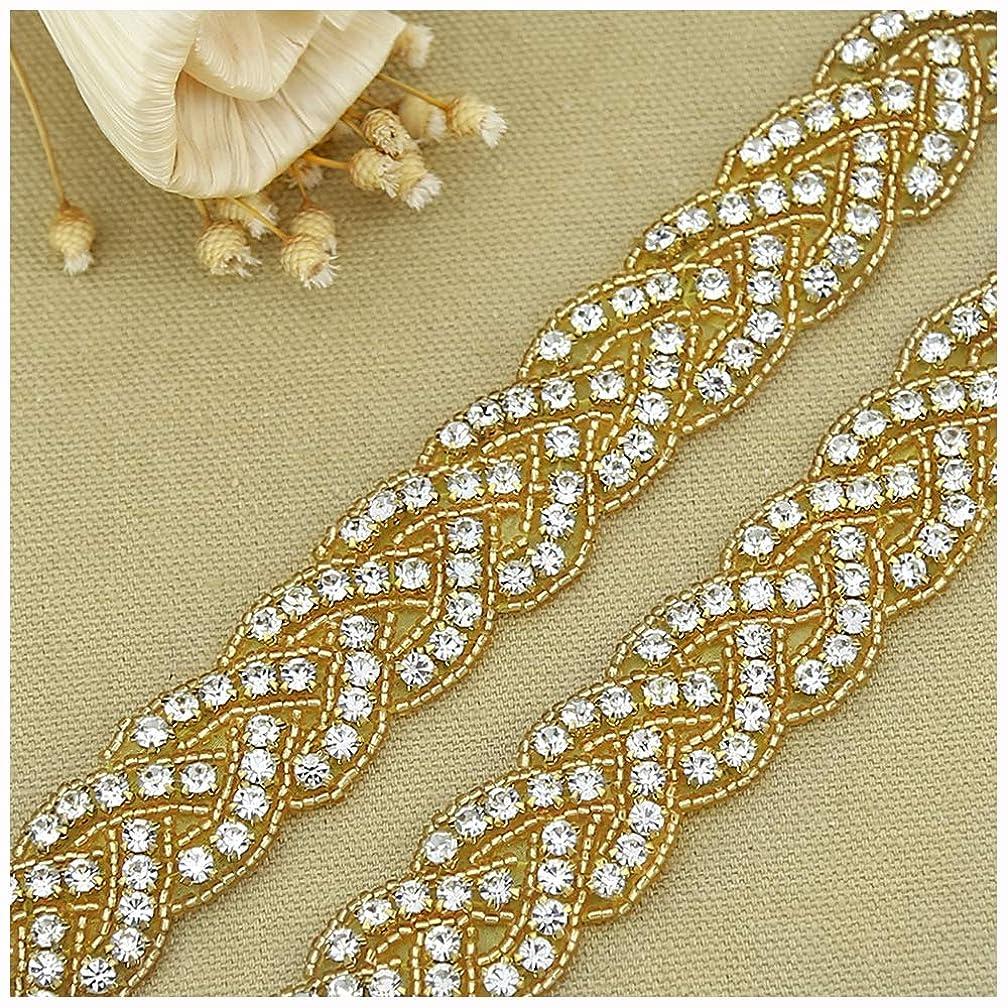 QueenDream Vintage Handmade 1 Yard Pearl Crystal Rhinestones Wedding Dress-Gold Rhinestone