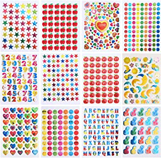 Coopay 7590 Pieces Kids Reward Stickers Teacher Stickers for Students Incentive Chart Classroom Teaching Supplies Including Heart, Smiley Face, Star, Moon, Apple,Numbers and Letters, 12 Design Themes