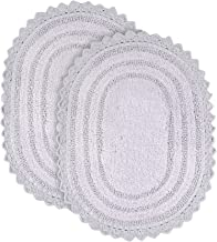 Soft Cotton Oval Crochet Set of 2 Bath Rug - Mats for Bathroom, Shower, Bath Tub, Sink, Toilet - 17x24 inches - Lilac