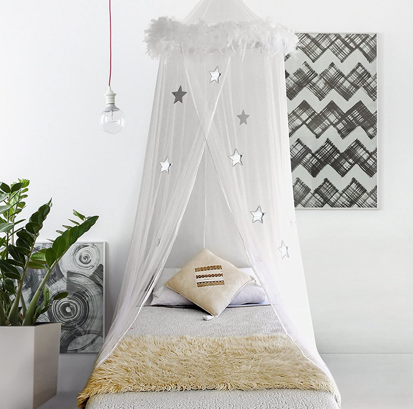 Bobo & Bee Bed Canopy Mosquito Net Curtains with Feathers and Stars for Girls Toddlers and Teens, White