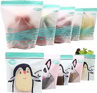ACHub 10pc Stand-up Reusable Food Storage Bags (Reusable Sandwich bag, Reusable Snack bag, Reusable Produce Saver Ziplock Bag) - BPA Free, Freezer, Dishwasher, Microwave Safe (5 Lrg, 5 Sml)