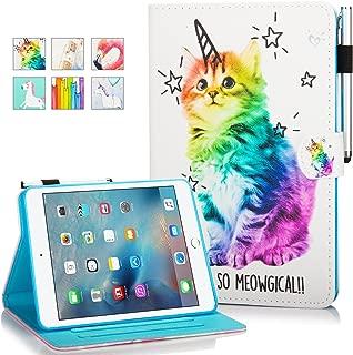 iPad Mini Case, Mini 2 3 4 Mini 5 Case Cover, MonsDirect Leather Smart Kickstand Case Flip Wallet Protective Case Compatible with Apple iPad Mini 1 2 3 4 Mini 5 2019, Shiny Cat