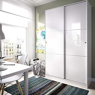 comprar comparacion HOMEKIT Armario 2 Puertas correderas, Blanco Brillo, 120x204x50cm