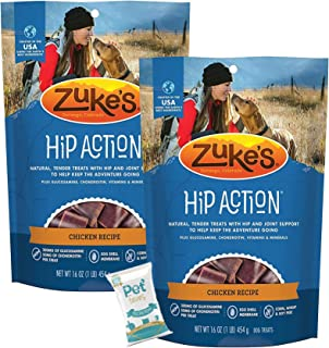 Pet Faves (2 Pack) Zuke Natural Hip & Joint Chicken Recipe Dog Treats (1lb Each) with 10ct Wipes