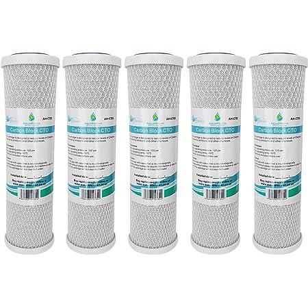 """5x AquaHouse AH-CTO5 Cartouches de filtre à eau en bloc de carbone de 10 po pour eau potable, systèmes d'osmose inverse, s'adapte à tous les boîtiers de filtre de 10"""" 25cm"""