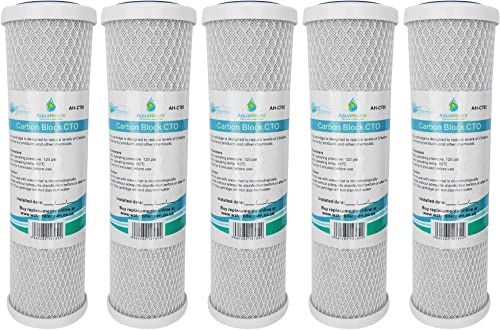 5x AquaHouse AH-CTO5 Cartouches de filtre à eau en bloc de carbone de 10 po pour eau potable, systèmes d'osmose inver...