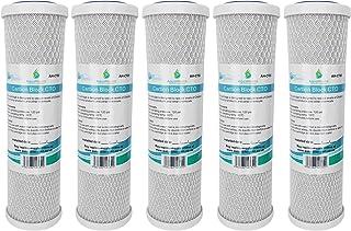 5x AquaHouse AH-CTO5 Cartouches de filtre à eau en bloc de carbone de 10 po pour eau potable, systèmes d'osmose inverse, ...