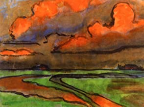Aenx Emil Nolde - Marsh Landscape under Red Clouds, Utenwarf Painting Private collection 30