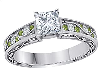 Antique Vintage Style 1.00 Ct Princess Cut Cubic Zirconia & CZ Green Tourmaline 925 Sterling Silver Plated Engagement Ring Womens
