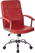 AVE SIX Malta Faux Leather Seat and Back Office Chair with Padded Arms and Chrome Accents, Red