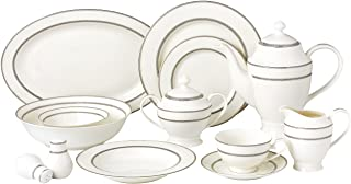 Lorren Home Trends 28 Piece Arianna Collection Dinnerware Set, Silver