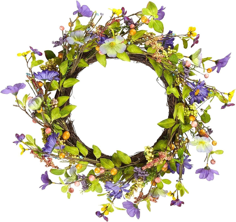 Summer Floral Front Door Wreath (Purple Floral)