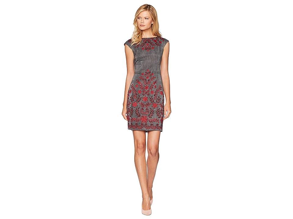 London Times Vine Flower Long Sleeve Ponte Dress (Soft White/Red) Women