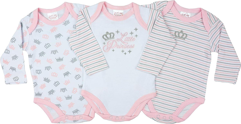 3er-Pack Baby Jungen M/ädchen Unisex Langarm-Body Just Too Cute