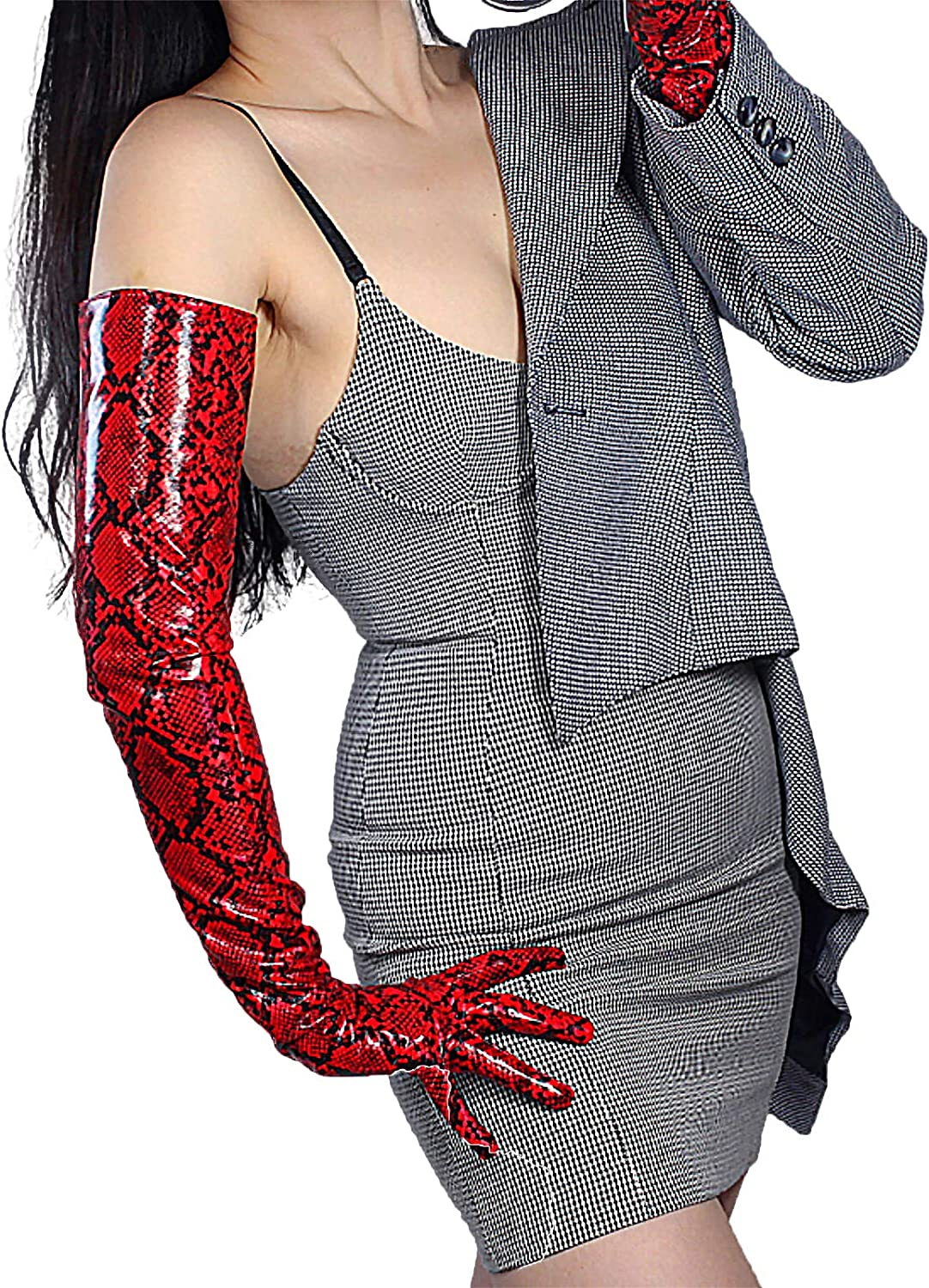 GooDay Women's Extra Long Leather Gloves Faux Patent PU Fashion Shine Red Snakeskin Print 28 inches