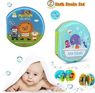 Floating Baby Bath Books Waterproof Bath Toys Book, Bath Time for Toddlers Babies Infant Kids,Education Bath Toys,Set of 2 Sea Fishes Zoo Baby Animal, Lion Octopus ABC Turtle Jelly Fish for Boys&Girls