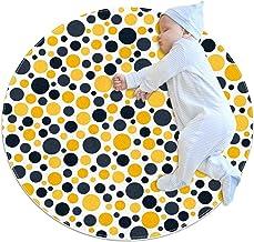 Gulbrun, rund matta för barn polyester soffområde mjuk pedagogisk tvättbar matta barnkammare tipi tält lekmatta