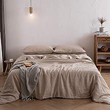 طقم غطاء لحاف ATLINIA 100% من الكتان، 1 غطاء لحاف (172.7 سم × 218.36 سم) و1 غطاء وسادة، طقم سرير من الكتان الفرنسي المغسو...