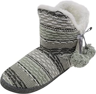 ABSOLUTE FOOTWEAR Ladies/Womens Knitted Style Boots/Bootie Slippers with Pom Pom Feature
