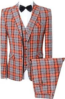 MOGU Men's One Button Slim Fit Plaid Suit Blazer+Vest+Pants