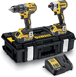 DeWalt DCK266P2-QW - Kit XR con taladro percutor a bateria DCD796, atornillador de impacto DCF887, 2 baterías Li-Ion 5, 0 Ah y organizador DS150