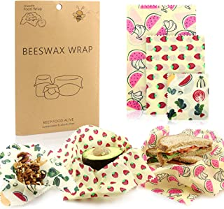 Beeswax Wrap Set by Funhouse! 3 Wax Wraps WITH Extra Security! Multisized Bees Wrap Food Wrap - Bee Paper for Eco-Friendly Cling Film Plastic Wrap Alternative - Zero Waste, Reusable Beeswrap Cloth