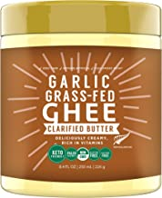 100% Natural New Zealand made Grass Fed Cow Ghee, Garlic Extract Infused, 250 ML, Keto Paleo Friendly Superfood by MILKIO
