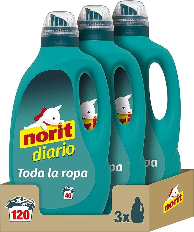 Norit Diario - Detergente Líquido para Todos los Tejidos y Colores - Pack de 3 Unidades de 2120 ml: 6.360 ml