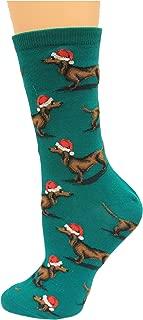 Women's Christmas Dachshund Crew Socks 1 Pair, Forest Green, Women's Shoe 4-10