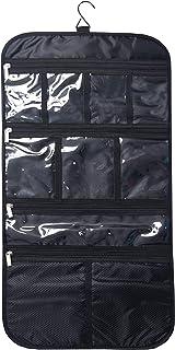حقيبة سفر فاخرة معلقة لأدوات الزينة - حقيبة تنظيم أدوات التجميل والمجوهرات وأدوات الزينة والإكسسوارات، حجم كبير، مقصورات م...