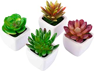 GSM Brands Artificial Fake Succulent Plants- Assorted 4 Pack- Mixed Mini Plants