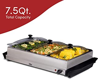 Elite Gourmet Elite Platinum EWM-6171 Triple Buffet Server Food Warmer Temperature Control, Clear Slotted Lids, Perfect for Parties, Entertaining & Holidays, 7.5 Quart, Stainless Steel