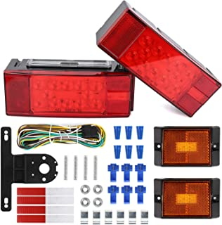 WoneNice 12V LED Low Profile Submersible Trailer Tail Light Kit, Combined Stop, Taillights, Turn Function