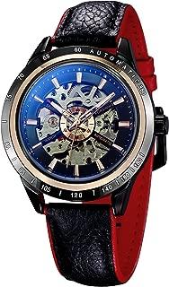 TREEWETO メンズ 腕時計 自動巻き 機械式 ブルーレイ ガラス スケルトン スチームパンク ギフトボックス付き