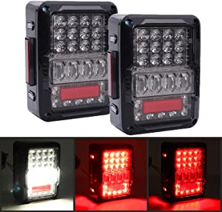 DOT Approved 4D LED Tail Lights for 2007-2017 Jeep Wrangler JK Brake Reverse Light Rear Back Up Lights Daytime Running Lamps,EMC Build-in