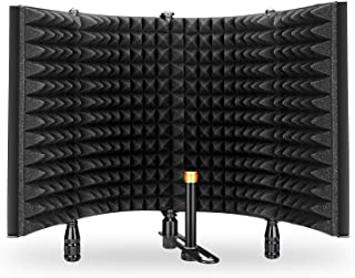 "Monoprice Microphone Isolation Shield - Black - Foldable with 3/8in Mic Threaded Mount, High Density Absorbing Foam Front and Vented Metal Back Plate LyxPro VRI-10 Vocal Sound Absorbing Shield For Studio Home And Office Recording Acoustic Isolation Microphone Foam Panel Shield – Portable And Adjustable Stand Mount or Desktop Use Neewer Microphone Isolation Shield Absorber Filter Vocal Isolation Booth with Lightweight Aluminum Panel, Thick Soundproofing Foams, Mounting Brackets and Screws for Mic Stand with 5/8"" Thread Aokeo Studio Recording Microphone Isolation Shield, Pop Filter.High density absorbent foam is used to filter vocal. Suitable for blue yeti and any condenser microphone recording equipment"
