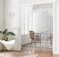 HSYLYM Lace Door Srting Curtain Warm Sheer Curtains Flat Tassel Ribbon Curtain Window Panel Room Divider Wall Decorations
