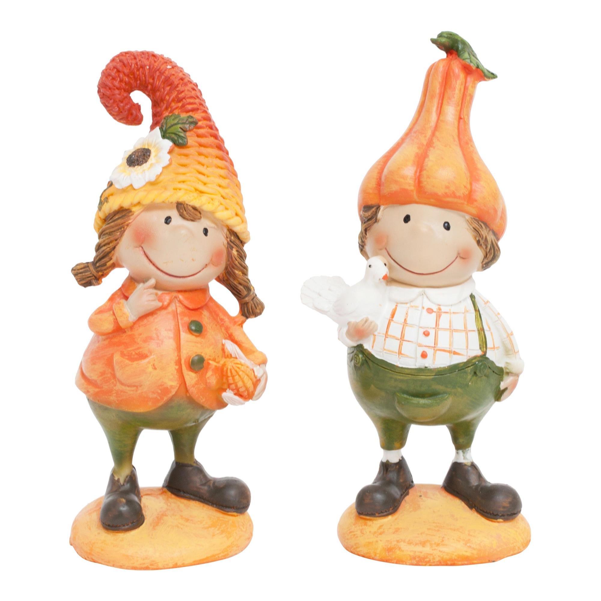 Juego de 2 figuras decorativas de jardín para niños con calabaza: Amazon.es: Jardín