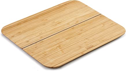 Joseph Joseph 60112 Chop 2 Pot Foldable Bamboo Cutting Board, Kitchen Prep with Non-Slip Feet Silicone Hinge Lays Flat Folds Up, Large, Brown