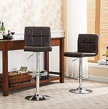 Roundhill Furniture 2 Swivel Elegant PU Leather Modern Adjustable Hydraulic Barstools, Brown