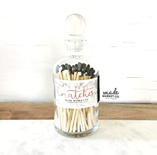 Black Tip Colored Matches. Match Sticks Ball Glass Top Bottle. Farmhouse Home Decor. Unique Gifts for her. Best Seller Most Popular Item