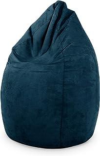 Green Bean © Drop Beanbag 60x60x90cm - Puf - Relleno de Bolas de EPS de 220 litros - Gamer Puff para Interior - Silla de Juego - Azul Oscuro